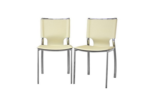 2 Baxton Studio Montclare Ivory Leather Dining Chairs BAX-ALC-1083-Ivory