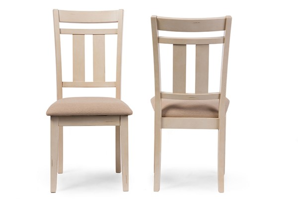 2 Baxton Studio Roseberry Beige Fabric Dining Side Chairs BAX-ALR-13322-Butter-Milk
