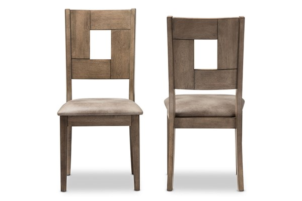 2 Baxton Studio Gillian Brown Faux Leather Upholstered Dining Side Chair BAX-ALR-15383-Oak-Grey-DC