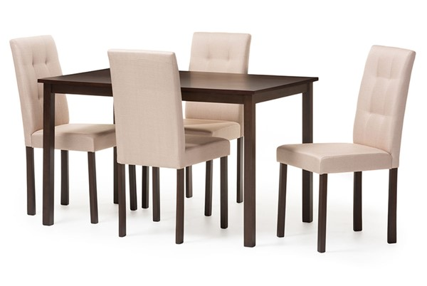 Baxton Studio Gardner Beige Fabric Dark Brown Wood 5pc Dining Set BAX-Andrew-5-PC-Dining-Set-10-Buttons-Beige-Fabric