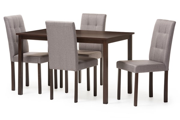 Baxton Studio Andrew Grey Fabric Dark Brown Wood 5pc Grid Tufting Dining Set BAX-ANDREW-5PCGY9GRID-DINSET