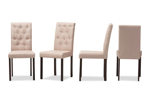 4 Baxton Studio Andrew Beige Fabric Upholstered Grid Tufting Dining Chairs BAX-Andrew-DC-9-Grids-Beige