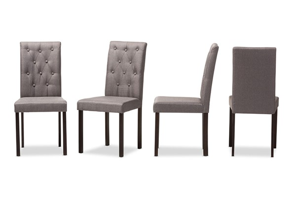 4 Baxton Studio Andrew Grey Fabric Upholstered Grid Tufting Dining Chairs BAX-Andrew-DC-9-Grids-Grey