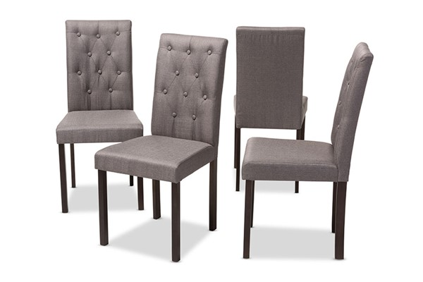 4 Baxton Studio Gardner Grey Fabric Upholstered Dining Chairs BAX-Andrew-DC-10-Buttons-Grey
