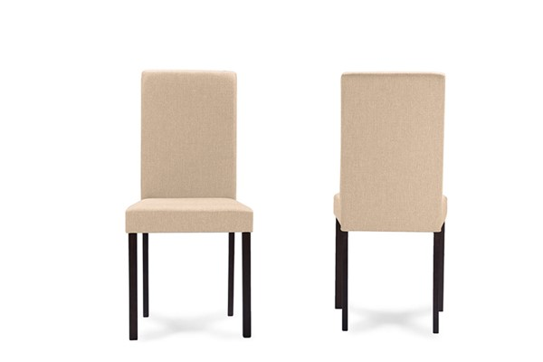 2 Baxton Studio Andrew Beige Fabric Upholstered Dining Chairs BAX-Andrew-Dining-Chair-Beige-Fabric