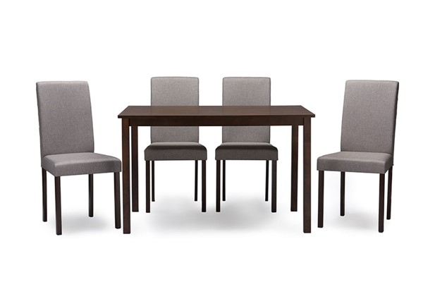 Baxton Studio Andrew Grey Fabric Dark Brown Wood 5pc Dining Set BAX-ANDREW-5PCDINSET-GYFAB