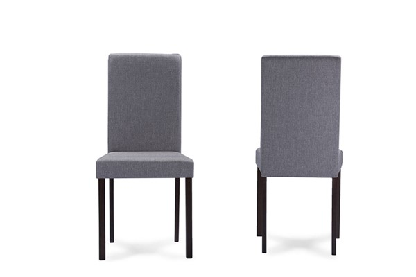2 Baxton Studio Andrew Grey Fabric Upholstered Dining Chairs BAX-Andrew-Dining-Chair-Grey-Fabric