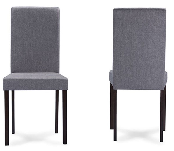 4 Baxton Studio Andrew Grey Fabric Upholstered Dining Chairs BAX-ANDREW-DIN-CH-GY-FAB