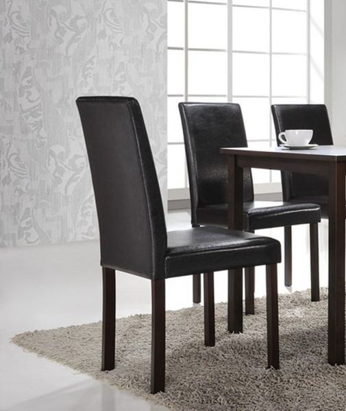2 Baxton Studio Andrew Dark Brown Faux Leather Dining Chairs BAX-Andrew-Dining-Chair