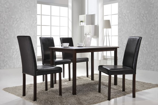 Baxton Studio Andrew Dark Brown 5pc Dining Set BAX-Andrew-Dining-Set