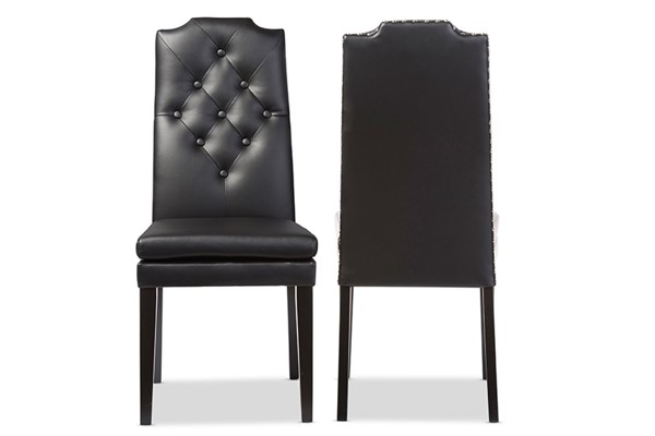 2 Baxton Studio Dylin Faux Leather Button Tufted Back Dining Chairs BAX-BBT5158-DC-VAR