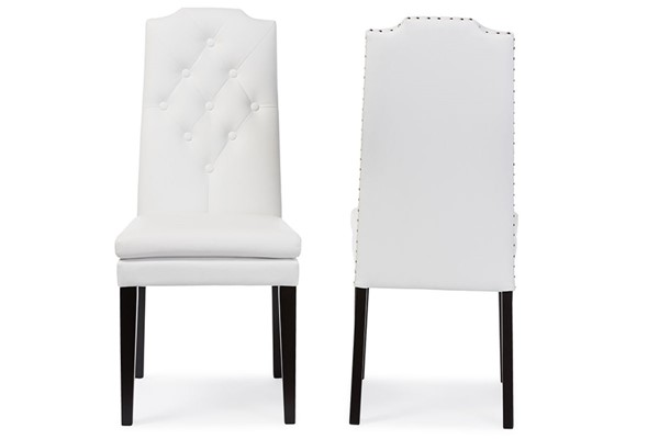 2 Baxton Studio Dylin White Faux Leather Button Tufted Back Dining Chairs BAX-BBT5158-White