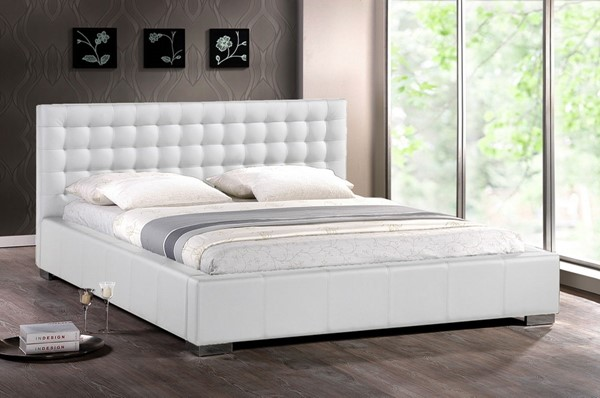 Baxton Studio Madison White Faux Leather Queen Bed with Upholstered Headboard BAX-BBT6183-White-Bed
