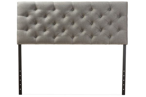Baxton Studio Viviana Grey Fabric Upholstered Button Tufted Queen Headboard BAX-BBT6506-Grey-Queen-HB