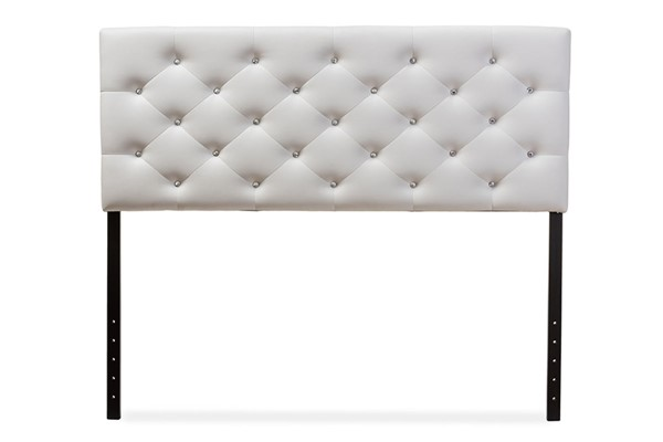 Baxton Studio Viviana White Faux Leather Upholstered Button Tufted Queen Headboard BAX-BBT6506-White-Queen-HB