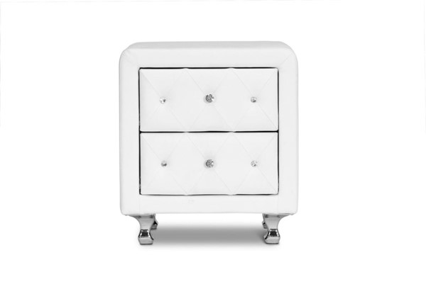 Baxton Studio Stella White Faux Leather Upholstered Night Stand BAX-BBT3084-White-NS