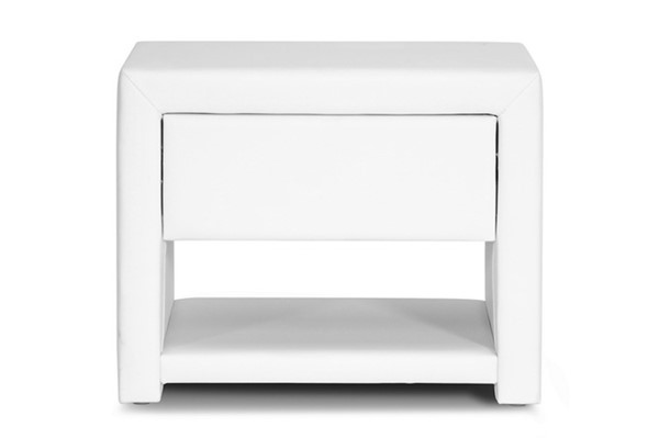 Baxton Studio Massey White Faux Leather Upholstered Night Stand BAX-BBT3092-White-NS