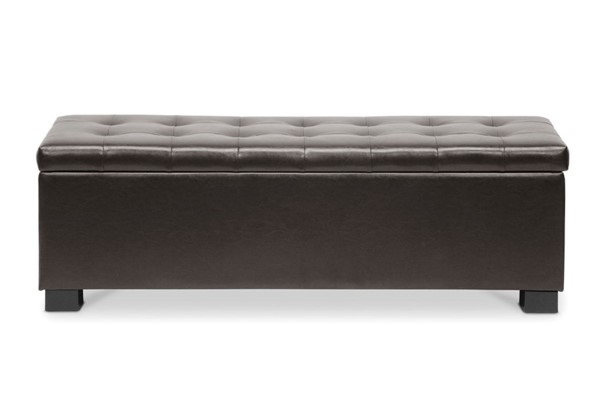 Baxton Studio Roanoke Dark Brown Bonded Leather Tufted Ottoman BAX-BBT3101-Dark-Brown-OTTO