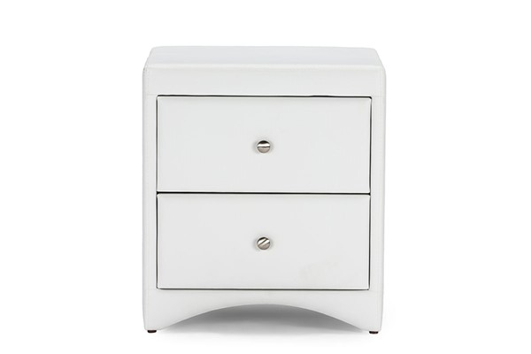 Baxton Studio Dorian White Faux Leather Upholstered Night Stand BAX-BBT3106-White-NS