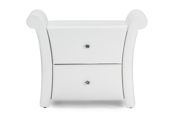 Baxton Studio Victoria White PU Leather 2 Drawers Night Stand Bedside Table BAX-BBT3111A1-White-NS