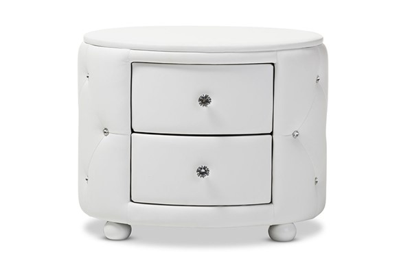 Baxton Studio Davina White Faux Leather Upholstered 2 Drawers Night Stand BAX-BBT3119-White-NS