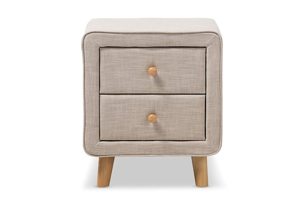 Baxton Studio Jonesy Beige Fabric Upholstered 2 Drawers Night Stand BAX-BBT3140-Beige-NS-XD02