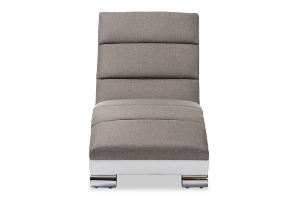 Baxton Studio Percy Grey White Upholstered Armless Chaise Lounge BAX-BBT5194-Grey-White