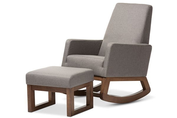 Baxton Studio Yashiya Grey Fabric Upholstered Rocking Chair and Ottoman Set BAX-BBT5199-Grey-Set