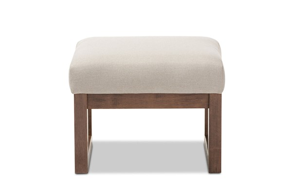 Baxton Studio Yashiya Light Beige Fabric Upholstered Ottoman Stool BAX-BBT5200-Light-Beige
