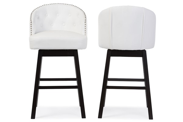 2 Baxton Studio Avril White Faux Leather Tufted Back Swivel Barstools BAX-BBT5210A1-BS-White