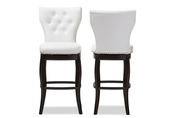 2 Baxton Studio Leonice White Faux Leather Upholstered 29 Inch Swivel Bar Stools BAX-BBT5222-White