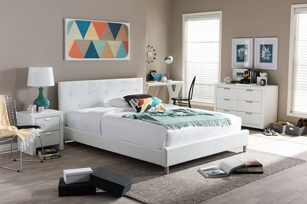 Baxton Studio Barbara White Faux Leather Full Bed with Crystal Button Tufting BAX-BBT6140-White-Full