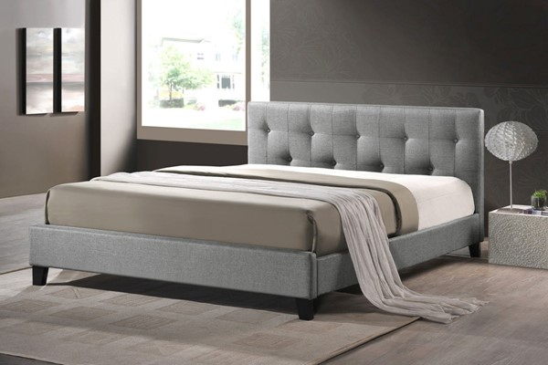 Baxton Studio Annette Grey Fabric Full Bed with Upholstered Headboard BAX-BBT6140A2-Full-Grey-DE800