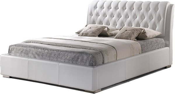 Baxton Studio Bianca White Faux Leather Queen Bed with Tufted Headboard BAX-BBT6203-White-Bed