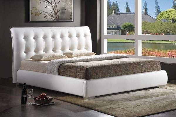 Baxton Studio Jeslyn White Faux Leather King Bed with Tufted Headboard BAX-BBT6284-White-Bed-King