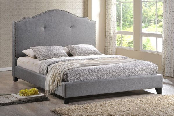 Baxton Studio Marsha Grey Fabric Bed with Upholstered Headboards BAX-BBT6292-BED-VAR