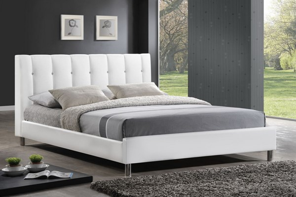 Baxton Studio Vino White Faux Leather Full Bed with Upholstered Headboard BAX-BBT6312-White-Full