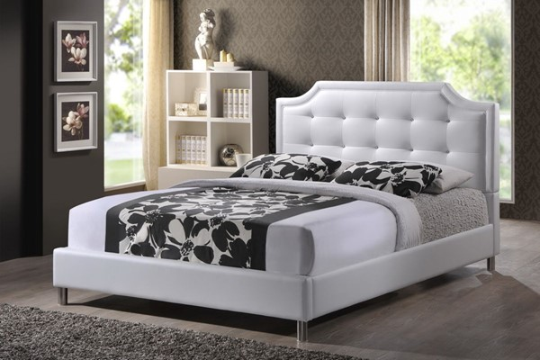 Baxton Studio Carlotta White Faux Leather Full Bed with Upholstered Headboard BAX-BBT6376-White-Full