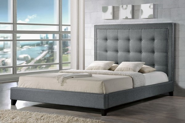 Baxton Studio Hirst Grey Fabric King Platform Bed BAX-BBT6377-Grey-King