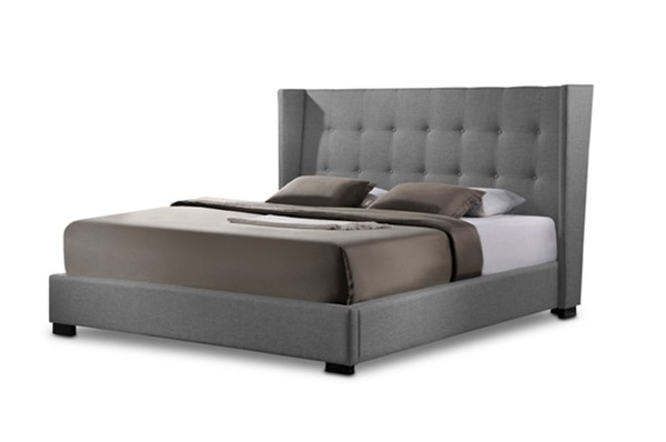 Baxton Studio Favela Grey Fabric King Bed with Upholstered Headboard BAX-BBT6386-K-GY-DE800-B-62