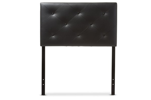 Baxton Studio Baltimore Black Faux Leather Upholstered Full Headboard BAX-BBT6431-Black-HB-Full
