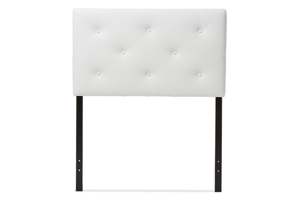 Baxton Studio Baltimore White Faux Leather Upholstered Full Headboard BAX-BBT6431-White-HB-Full