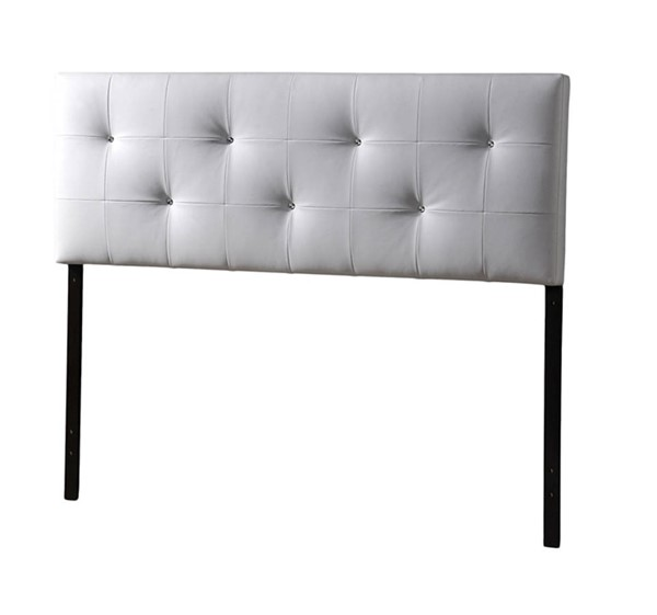 Baxton Studio Dalini White Faux Leather Queen Headboard with Faux Crystal Buttons BAX-BBT6432-White-HB-Queen