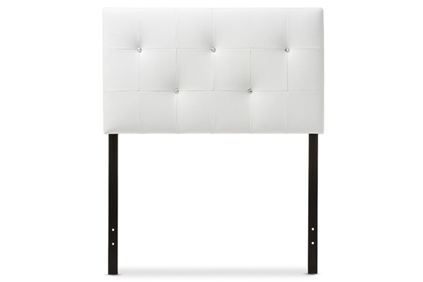 Baxton Studio Kirchem White Faux Leather Upholstered Twin Headboard BAX-BBT6432-White-Twin-HB