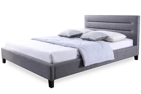 Baxton Studio Hillary Grey Fabric Upholstered Queen Platform Base Bed Frame BAX-BBT6452-Grey-Queen-Bed