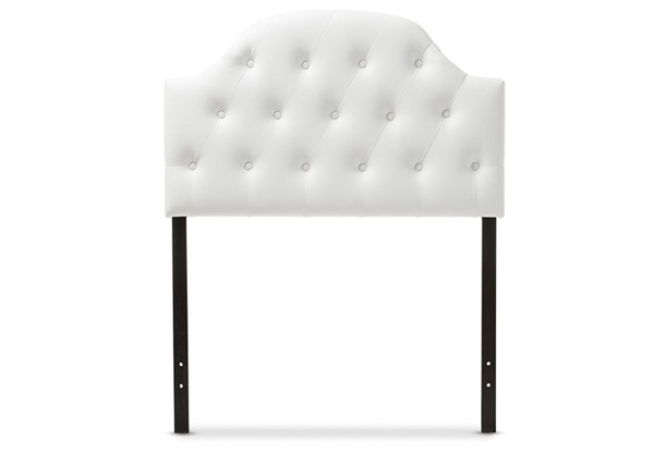 Baxton Studio Morris White Faux Leather Button Tufted Scalloped Twin Headboard BAX-BBT6496-White-Twin-HB
