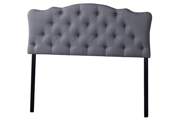 Baxton Studio Rita Grey Fabric Upholstered Button Tufted Full Headboard BAX-BBT6503-Grey-Full-HB
