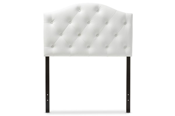 Baxton Studio Myra White Faux Leather Upholstered Button Tufted Full Headboard BAX-BBT6505-White-Full-HB