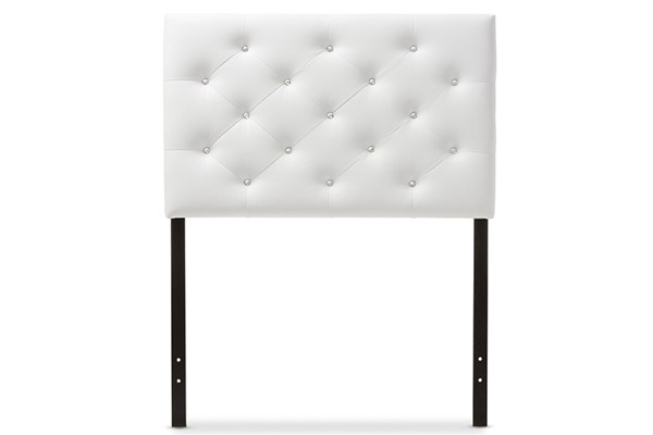 Baxton Studio Viviana White Faux Leather Upholstered Button Tufted Twin Headboard BAX-BBT6506-White-Twin-HB