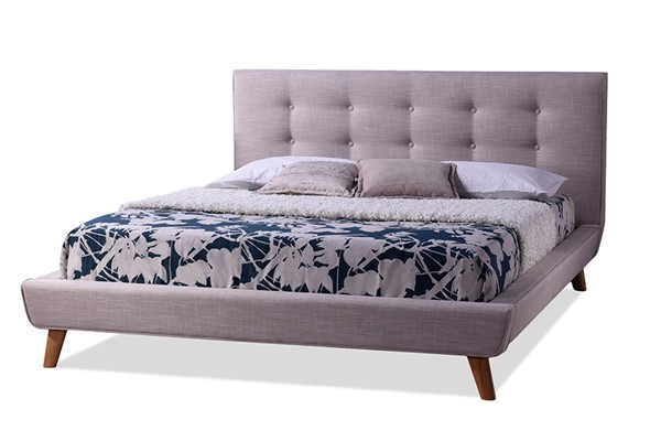 Baxton Studio Jonesy Beige Fabric Upholstered Queen Platform Bed BAX-BBT6537-Queen-Beige